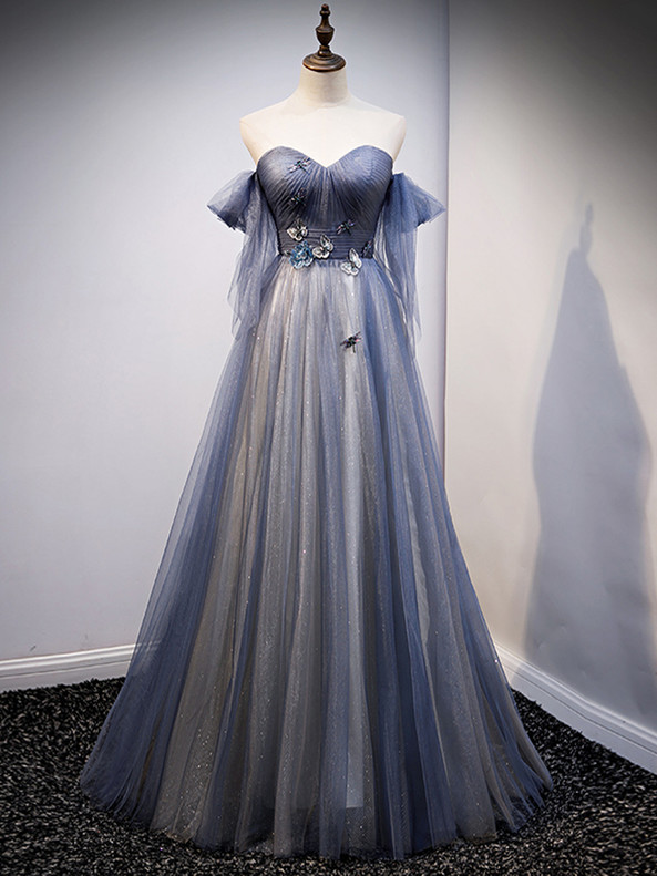 Blue Tulle Pleats Sweether Appliques Prom Dress