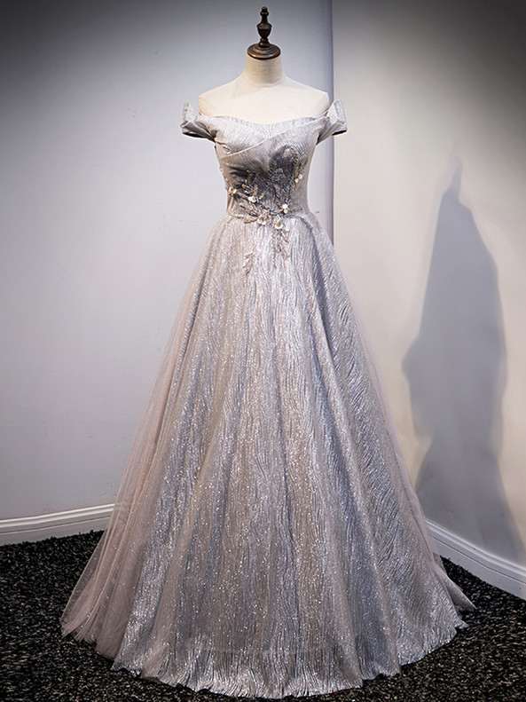 Silver Gray Sequins Off the Shoulder Beading Prom Dress