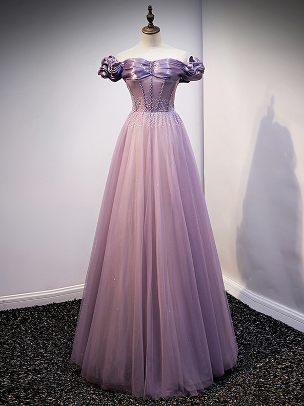 Purple Tulle Off the Shoulder Beading Prom Dress