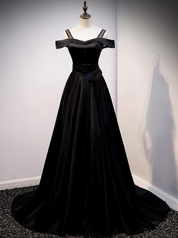 Black Satin Straps Button Long Prom Dress