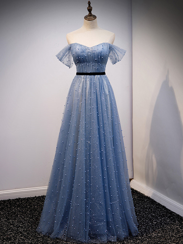 Blue Sequins Tulle Pearls Prom Dress