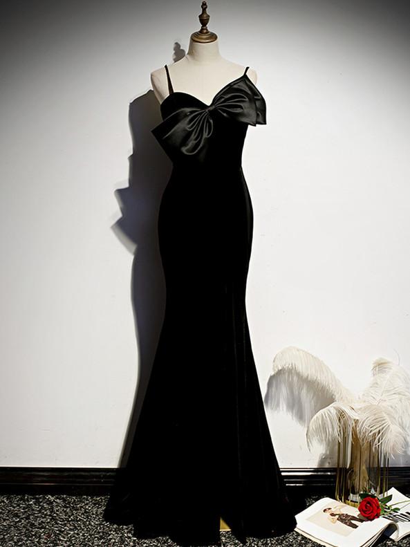 Black Mermaid Spaghetti Straps Velvet Prom Dress
