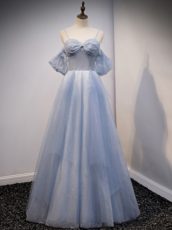 Blue Tulle Sequins Spaghetti Straps Beading Pleats Prom Dress