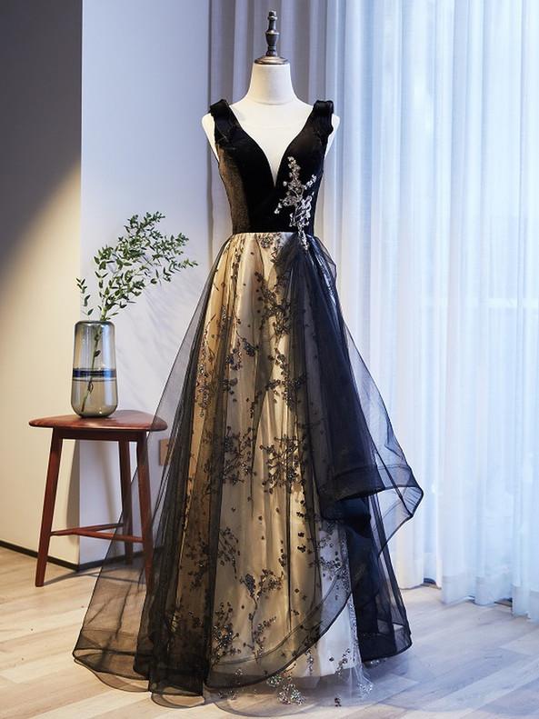 Black Tulle Velvet Sequins V-neck Prom Dress
