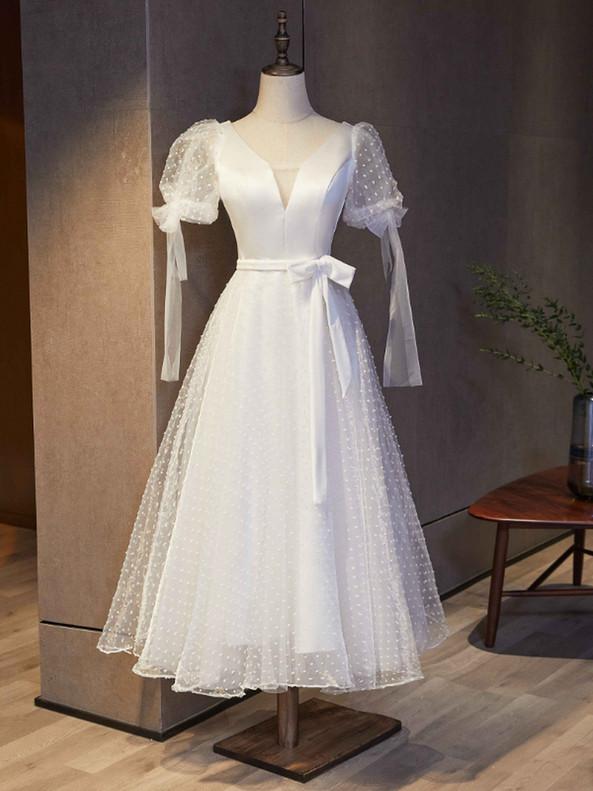 White V-neck Tulle Short Sleeve Prom Dress With Belt