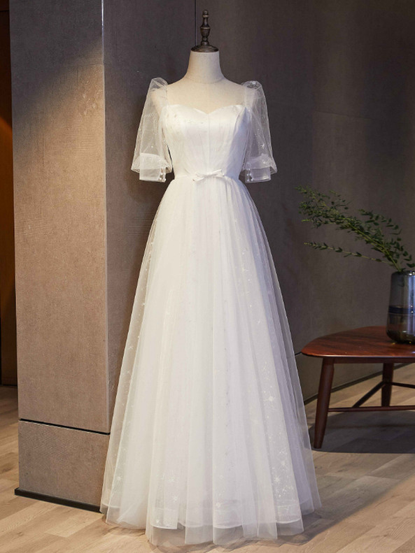 White Tulle Sequins Square Short Sleeve Prom Dress