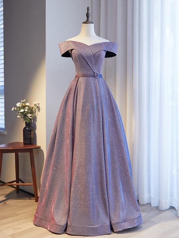 Fashion Purple Off the Shoulder Prom Dress