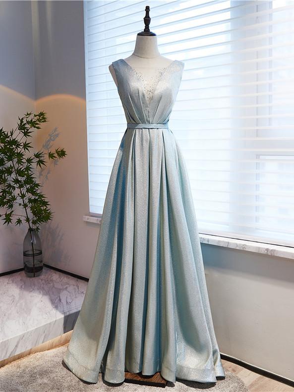 Blue Beading Illusion V-neck Prom Dress