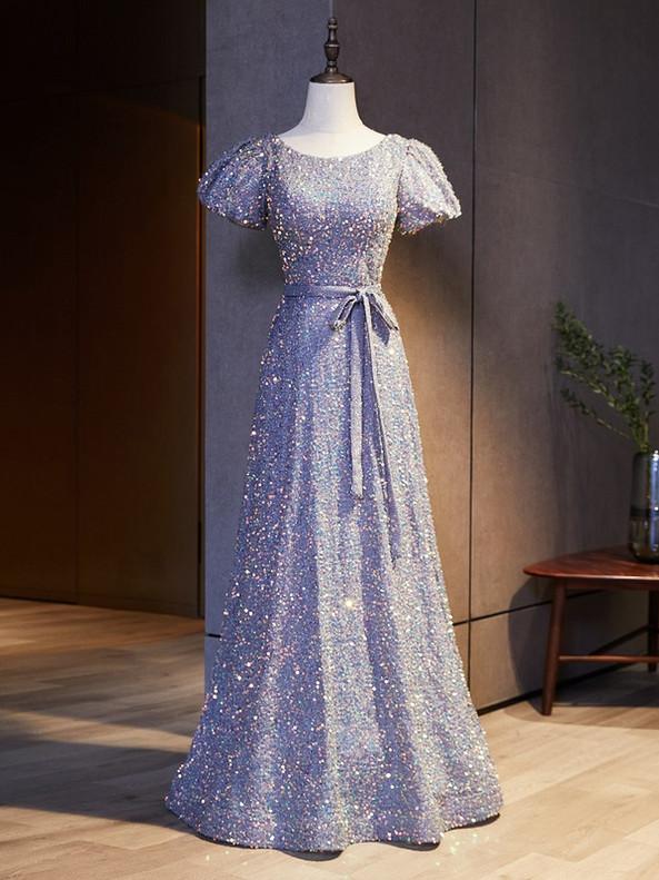 Purple Sequins Puff Sleeve Prom Dress
