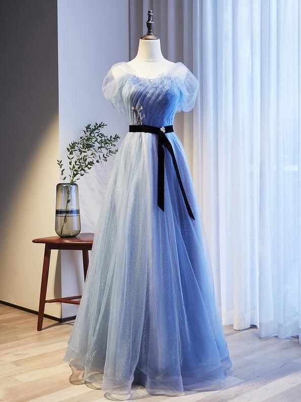 Blue TUlle Sequins Strapless Prom Dress Black Belt