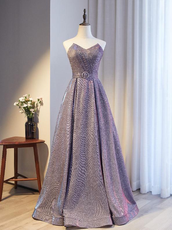 A-Line Purple Strapless Pleats Prom Dress