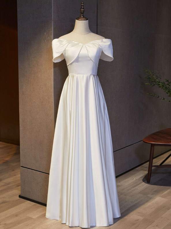 White Satin Off the Shoulder Pearls Prom Dress