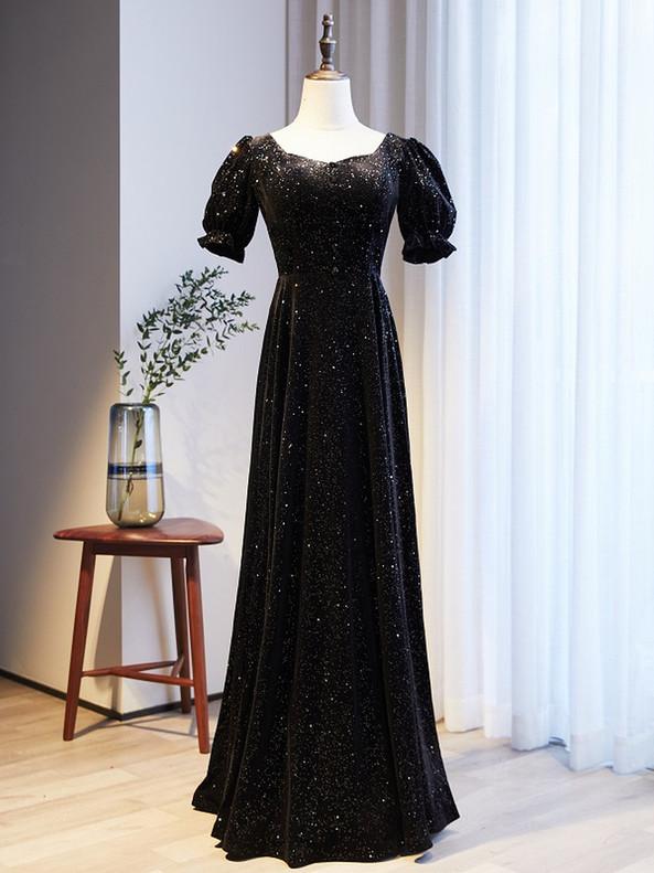 Black Square Short Sleeve Button Prom Dress