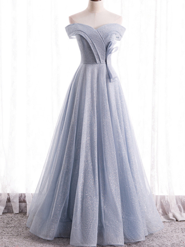 Tulle Sequins Off the Shoulder Silver Prom Dress