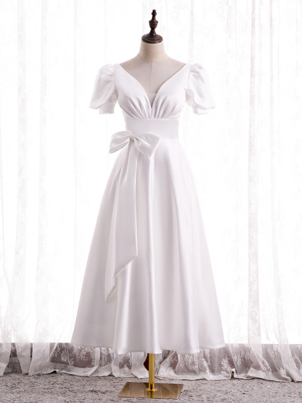 White Satin V-neck Puff Sleeve Prom Dress With Bow
