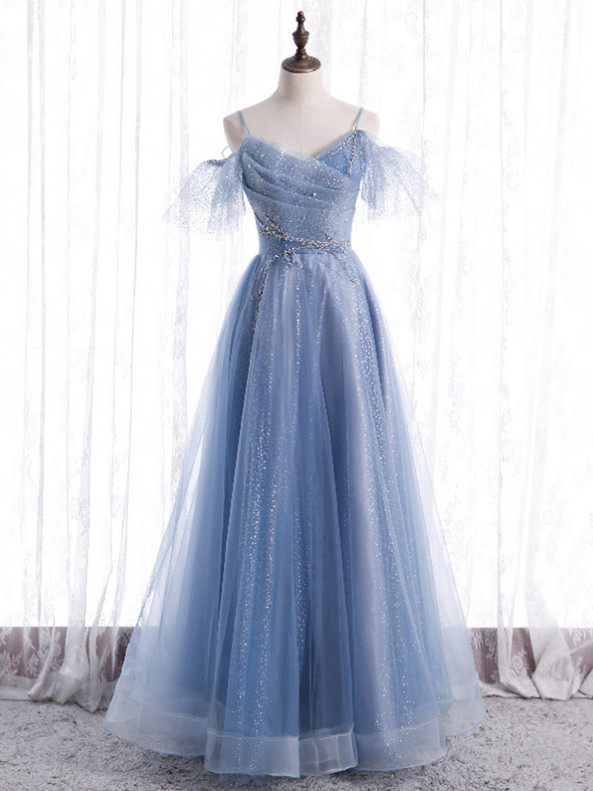 Blue Tulle Sequins Spaghetti Straps Pleats Prom Dress