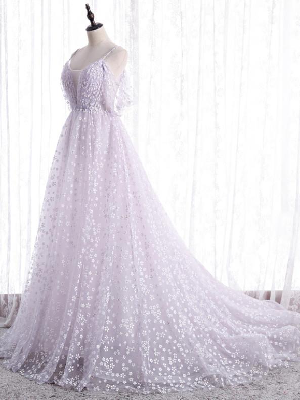 Light Purple Litter Flower Spaghetti Straps Pleats Prom Dress