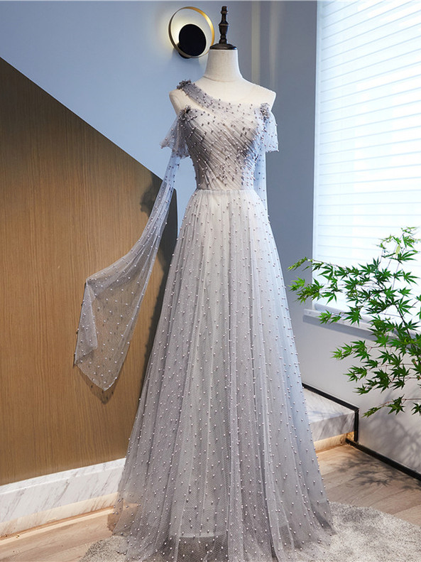 Tulle Sequins One Shoulder Pearls Prom Dress