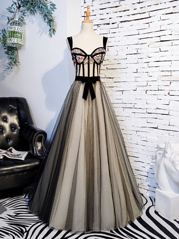 Black Tulle Straps Embroidery Sequins Prom Dress