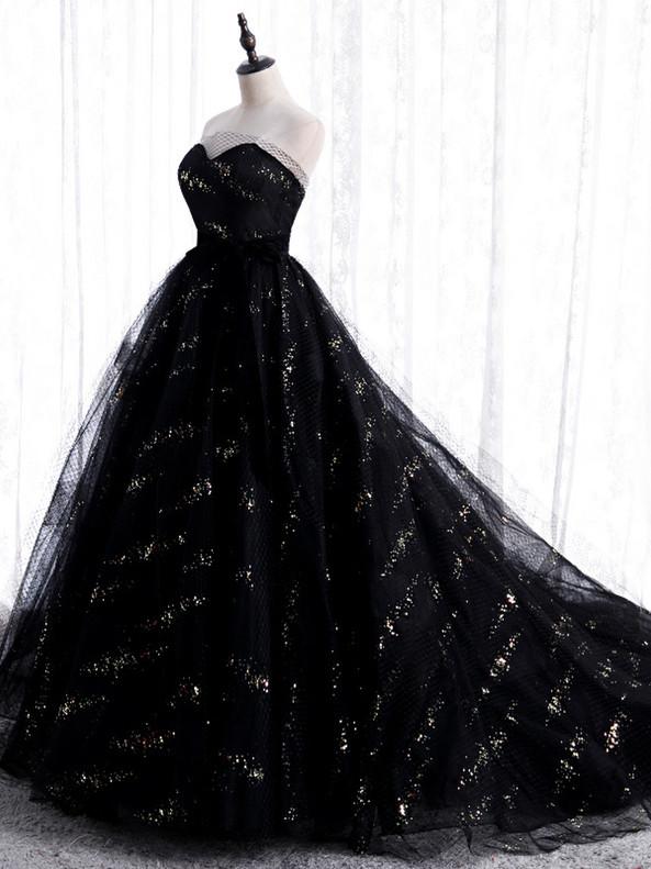 Black Tulle Sequins Strapless Prom Dress