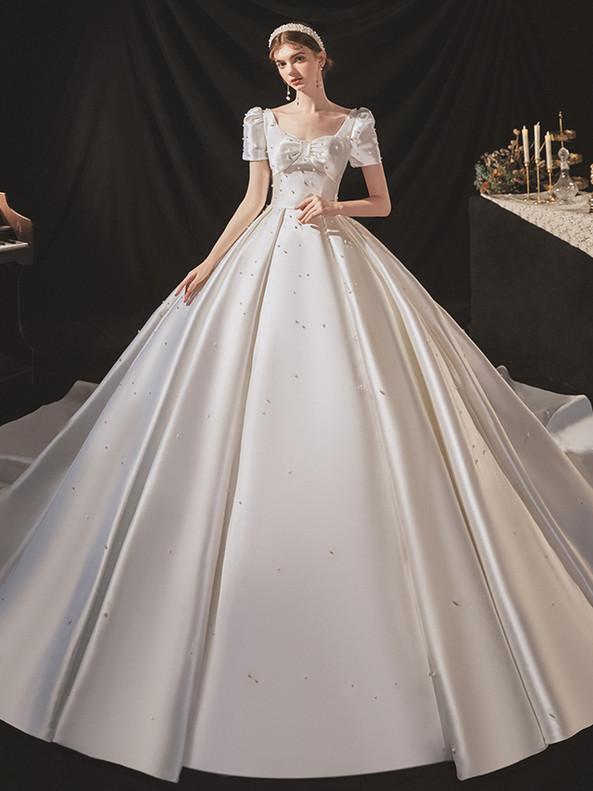 White Satin Square Short Sleeve Pearls Wedding Dress