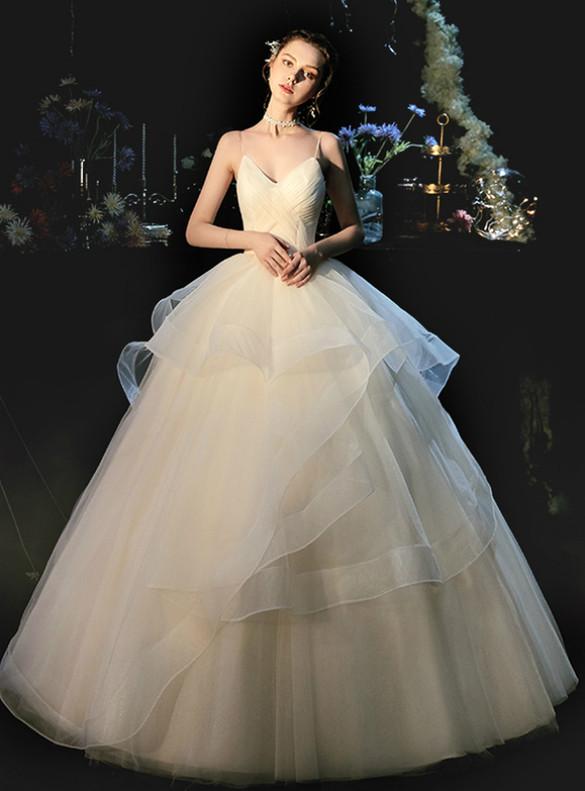 Champagne Tulle Pleats Spaghetti Straps Wedding Dress