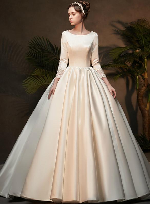 White Satin Appliques Long Sleeve Wedding Dress