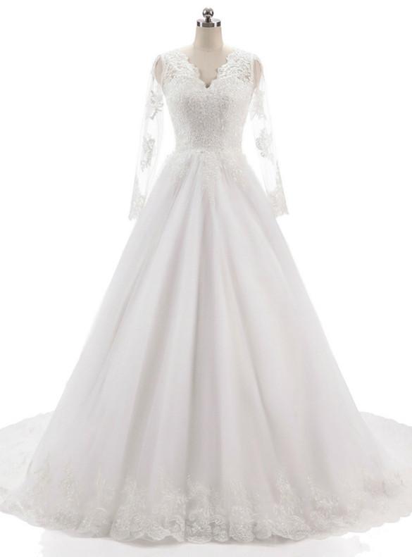 White Tulle Lace Appliques V-neck Wedding Dress