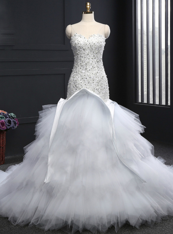 White Mermaid Tulle Strapless Appliques Beading Wedding Dress
