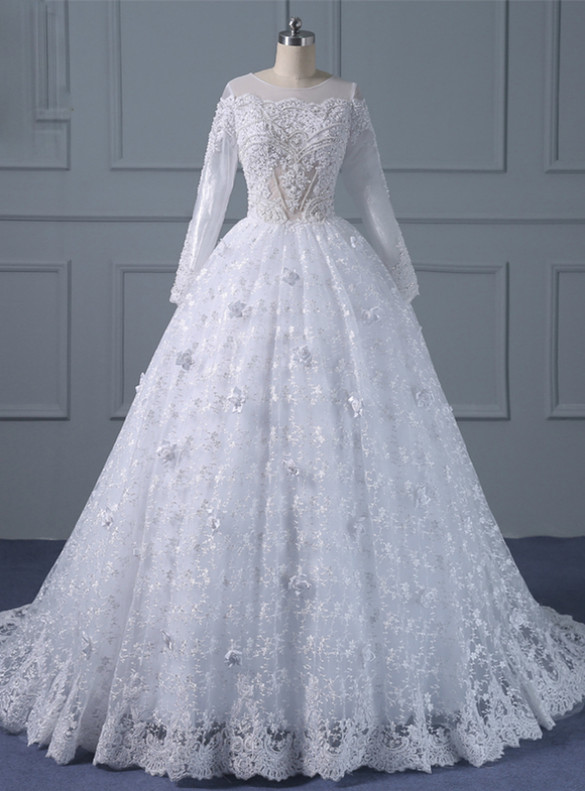 White Lace Long Sleeve Appliques Beading Sequins Wedding Dress