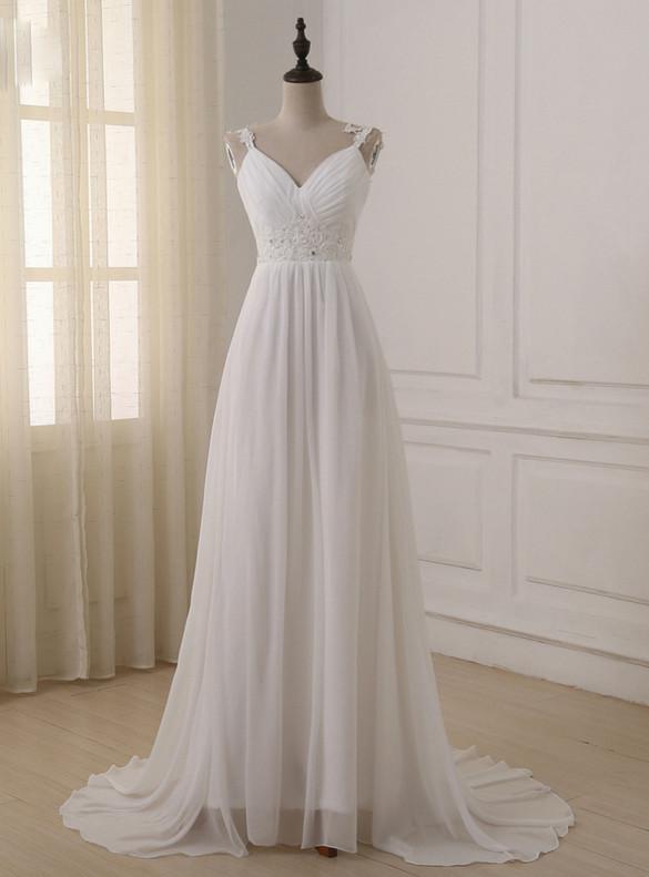 White Chiffon Pleats Appliques Beading Wedding Dress