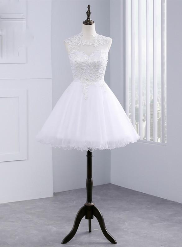 White Tulle Appliques Beading Backless Short Wedding Dress