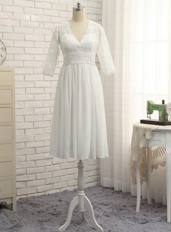 White Chiffon Lace V-neck Short Sleeve Wedding Dress