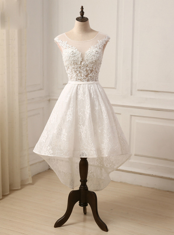 White Lace Hi Lo Backless Wedding Dress