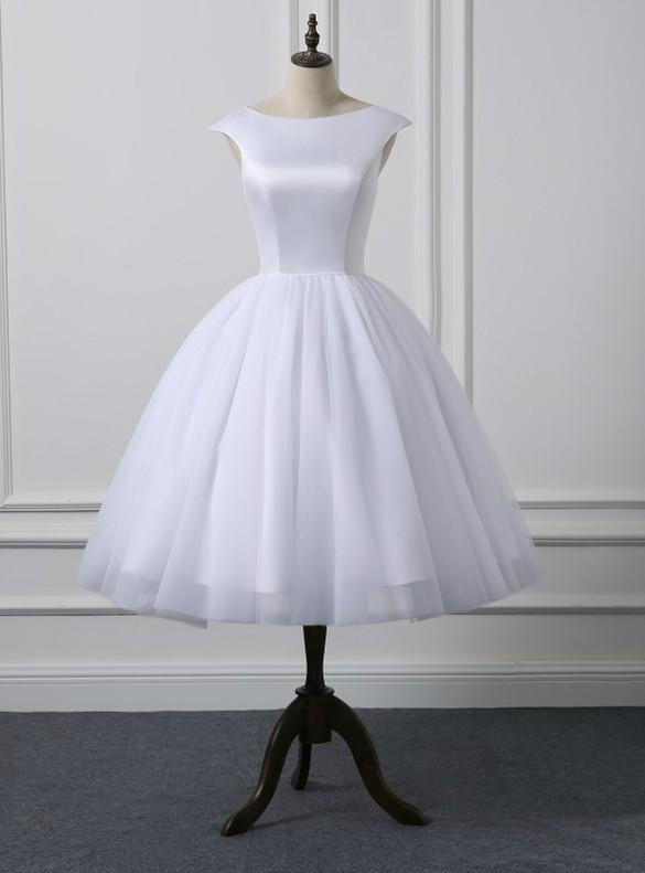 White Tulle Cap Sleeve Tea Length Wedding Dress