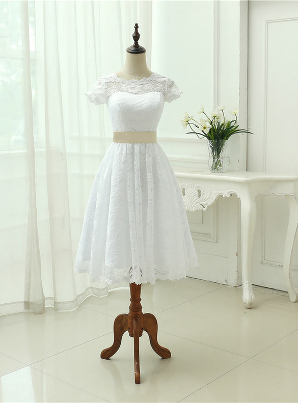 White Lace Cap Sleeve Wedding Dress With Belt