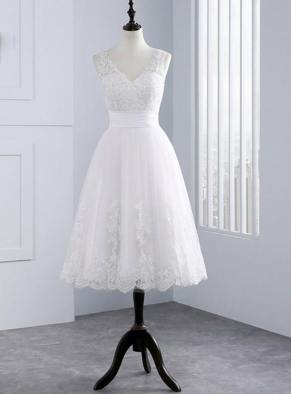 White Tulle V-neck Appliques Beading Tea Length Wedding Dress