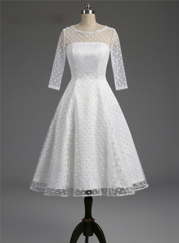 White Tulle Wave Point Short Sleeve Wedding Dress