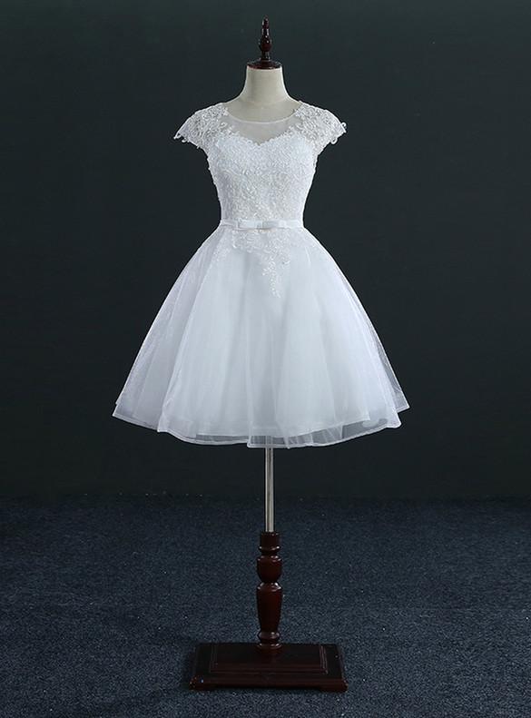 Short White Tulle Appliques Wedding Dress