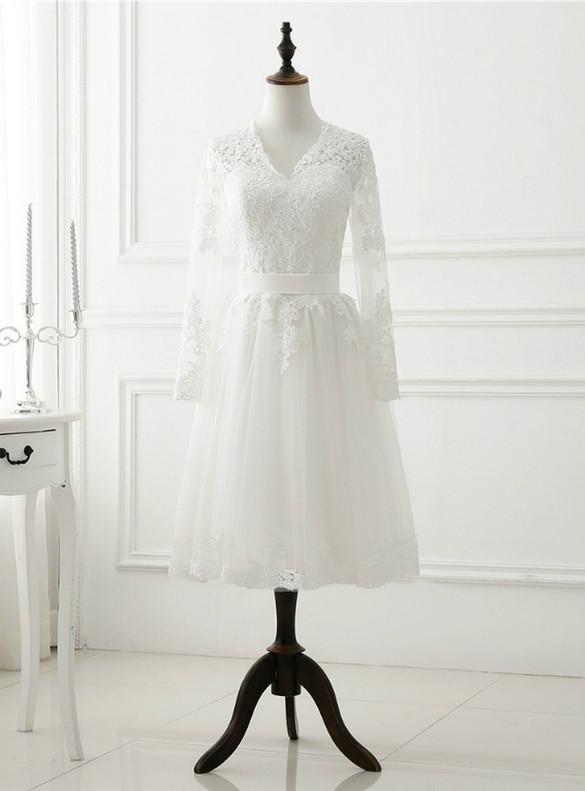 White Tulle Lace Long Sleeve Short Wedding Dress