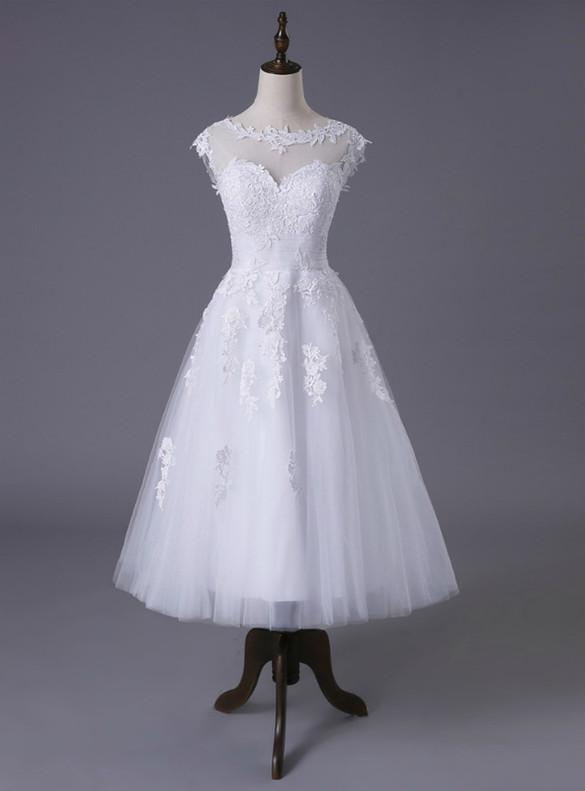 White Tulle Appliques Tea Length Wedding Dress