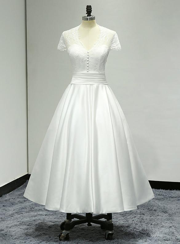 White Satin Lace V-neck Cap Sleeve Wedding Dress