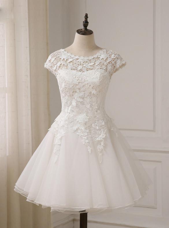 White Tulle Lace Mini Short Wedding Dress