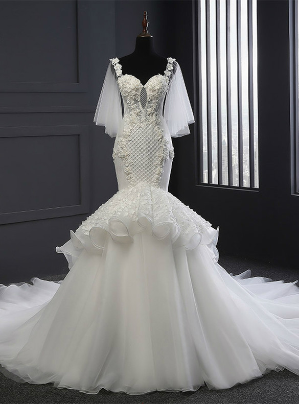 White Mermaid Tulle Straps Appliques Pearls Wedding Dress