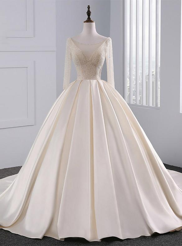 Ball Gown Satin Long Sleeve Beading Wedding Dress