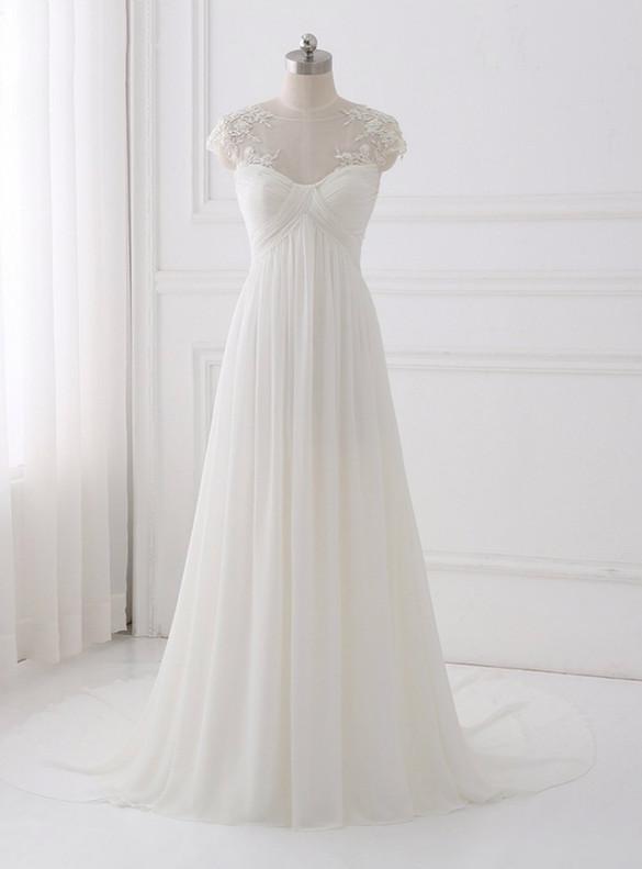 White Chiffon Pleats Cap Sleeve High Waist Wedding Dress