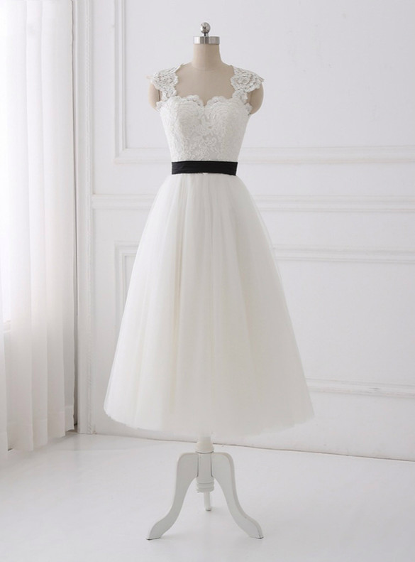 White Tulle Lace Open Back Wedding Dress