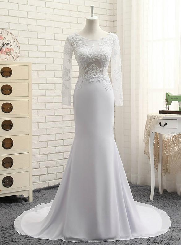 White Chiffon Mermaid Appliques Beading Long Sleeve Wedding Dress