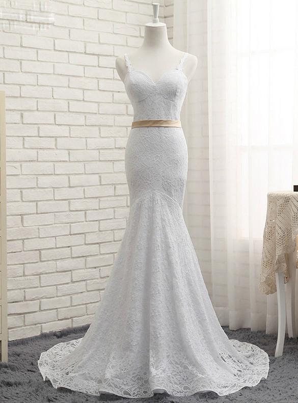 White Mermaid Lace Spaghetti Straps Wedding Dress
