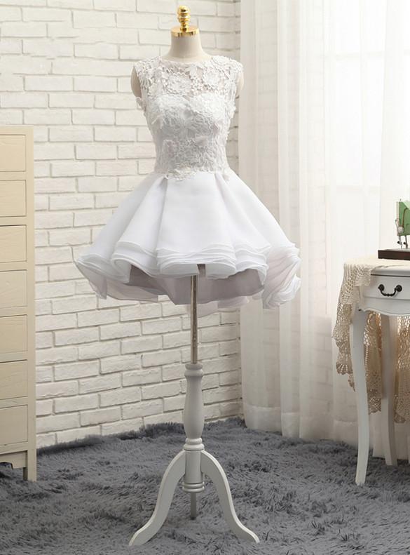White Organza Lace Short Wedding Dress